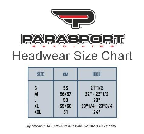 Parasport Z1 Jed-A open face size guide