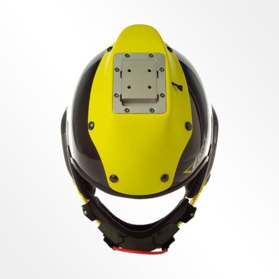 Tonfly 3x camera helmet black and yellow top view