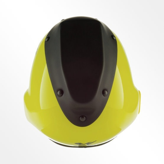 Tonfly 3x camera helmet yellow and black top view