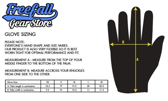 Freefall Gear Store Skydiving gloves size chart