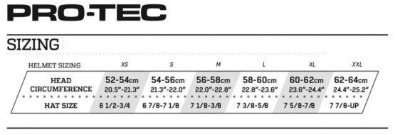 Pro-Tec helmet size chart