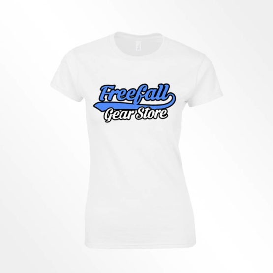 Womens Freefall gear store text logo tee white